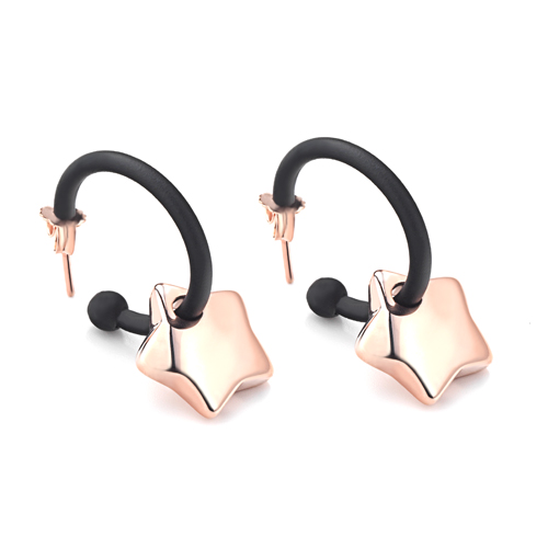 Sensi joyas jewellery Granada silver engagementSILVER EARRINGS WITH ROSE GOLD COATING AND RUBBER