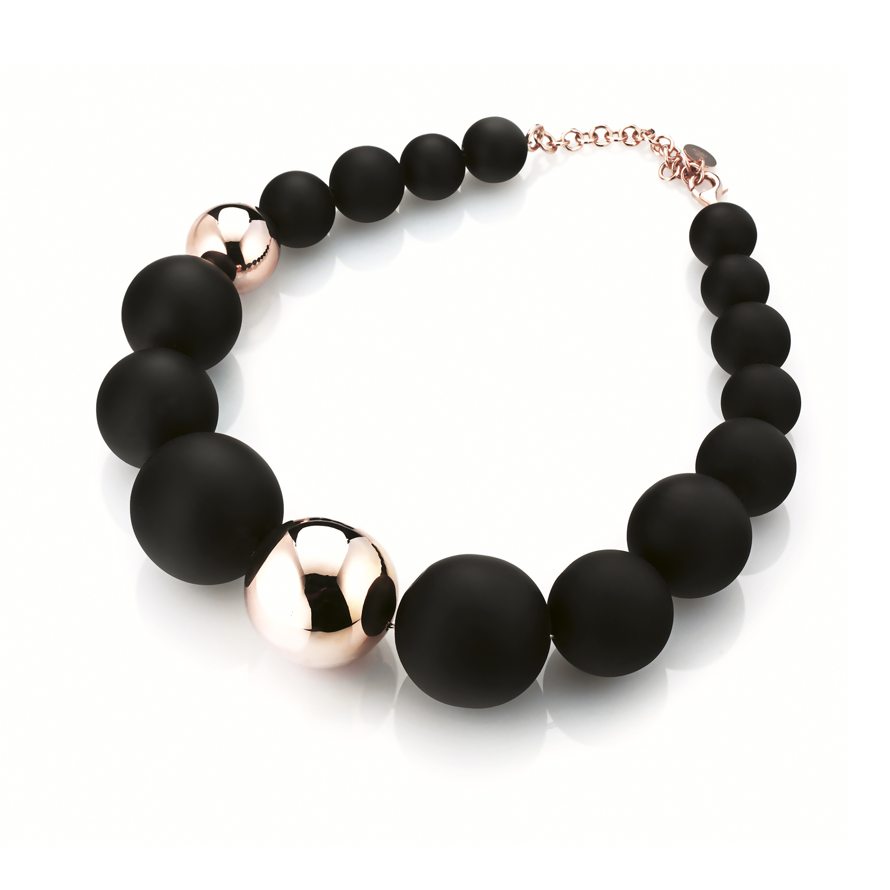 Sensi joyas jewellery Granada silver engagementSILVER NECKLACE WITH ROSE GOLD COATING AND RUBBER