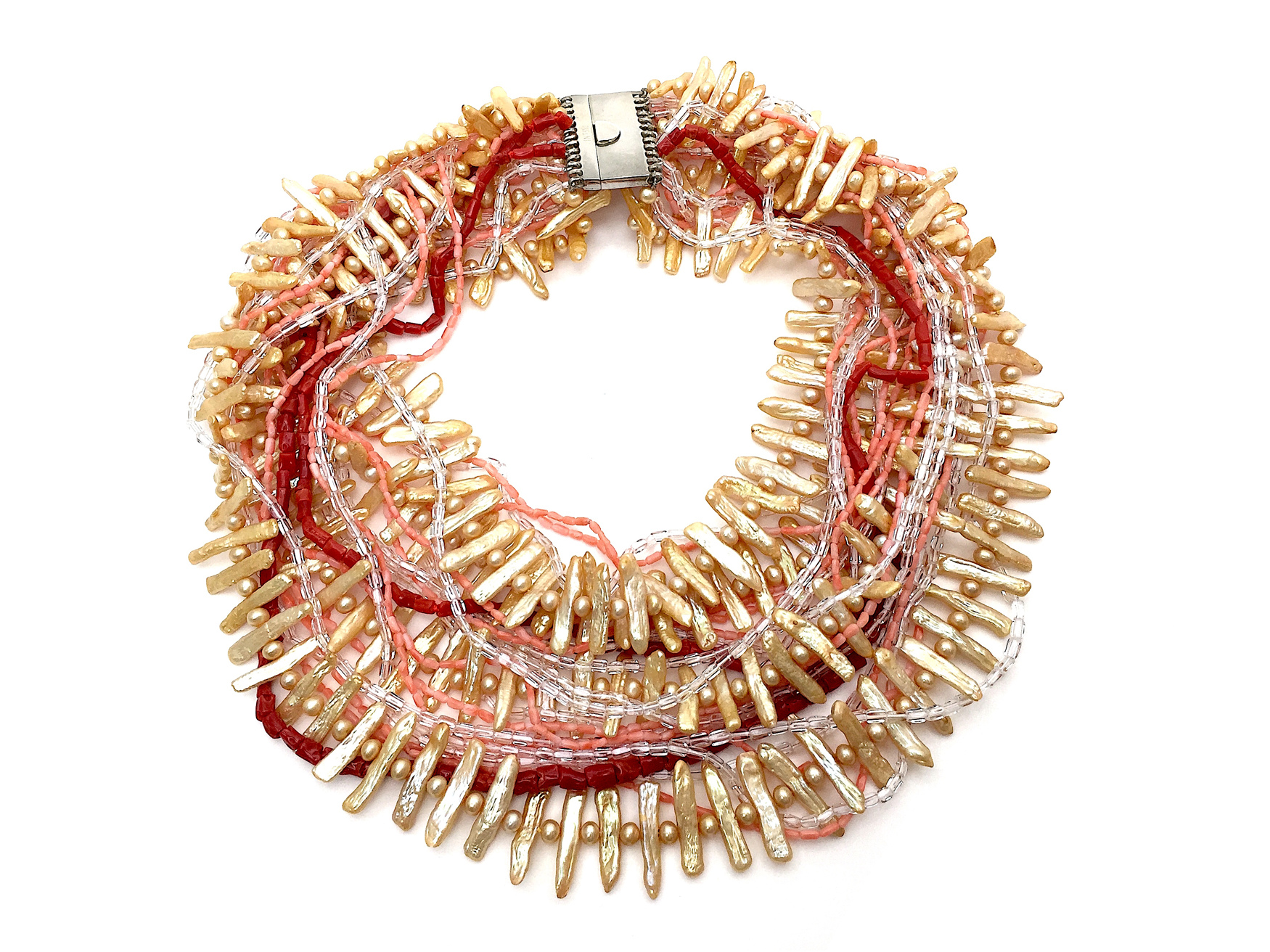 Sensi joyas jewellery Granada silver engagementNECKLACE NATURAL CORALLIUM,PEARLS  CULTERED AND CORAL