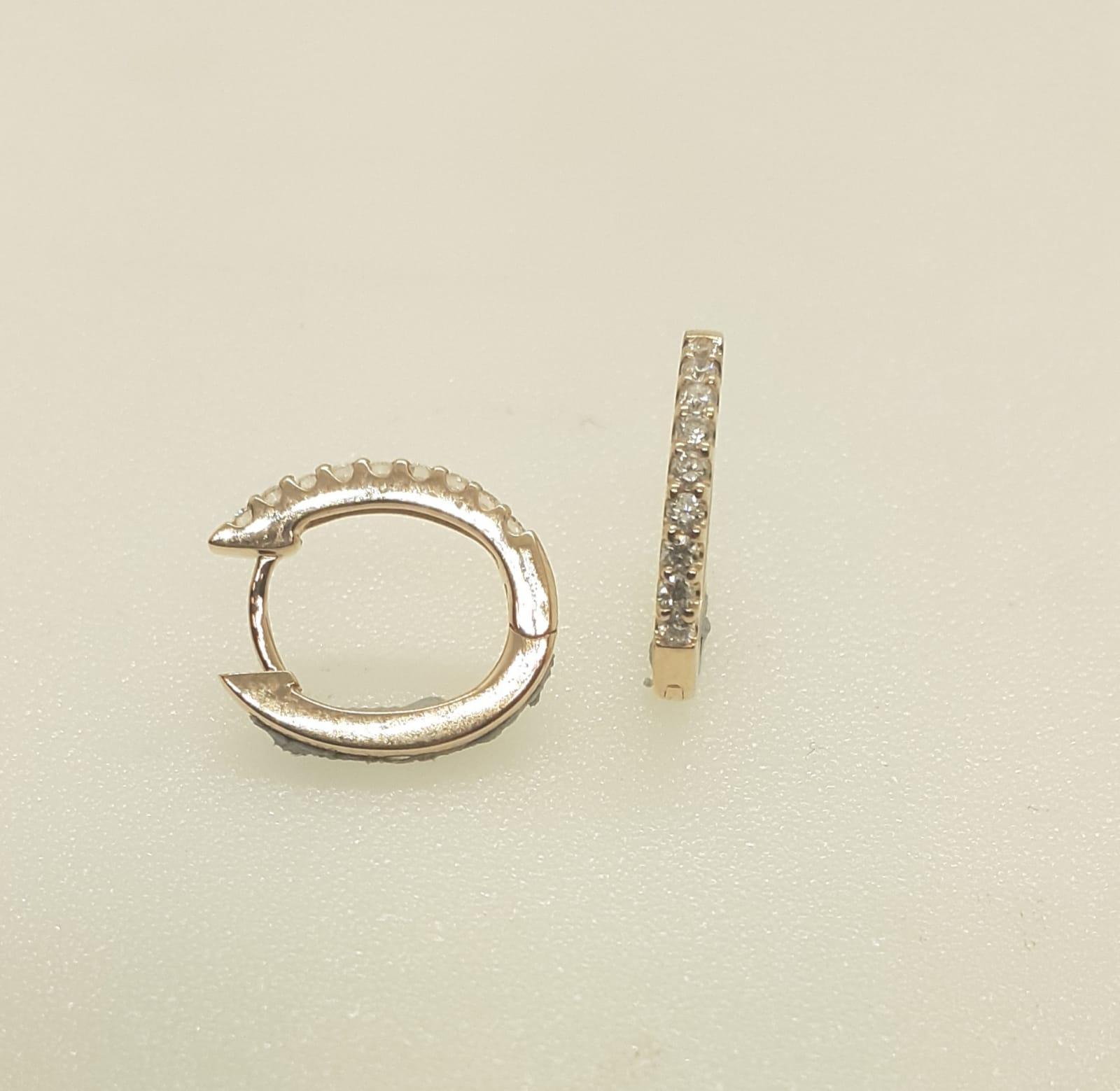 Sensi joyas alta joyería Granada plata compromiso PEDIENTES ORO ROSA 18K BRILLANTES  0,20 CTS   8,4mm