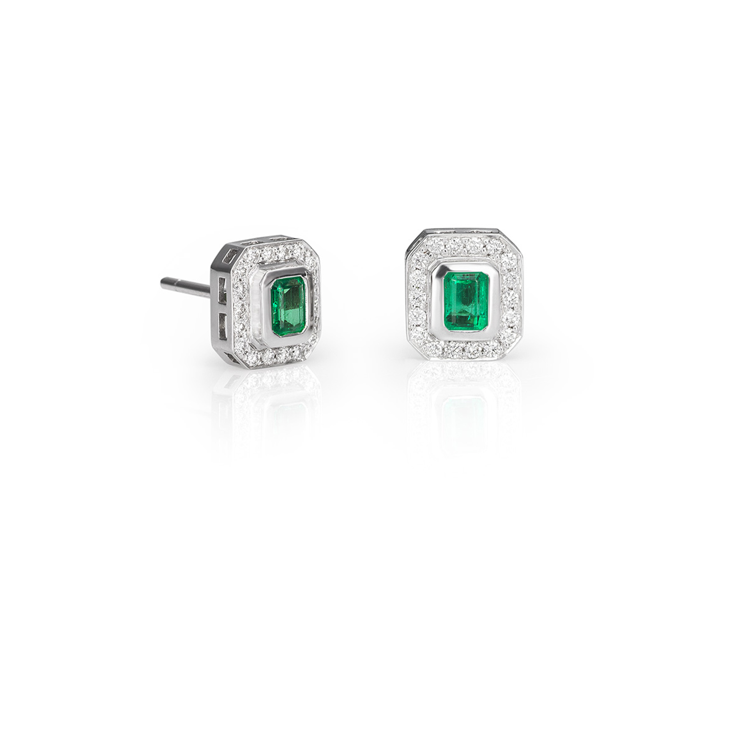 Sensi joyas jewellery Granada silver engagement18K WHITE GOLD EARRINGS WITH TWO 0.50CT NATURAL EMERALDS SIZE EMERALD AND 0.28CT DIAMOND TRIMMING SIZE BRILLIANT.