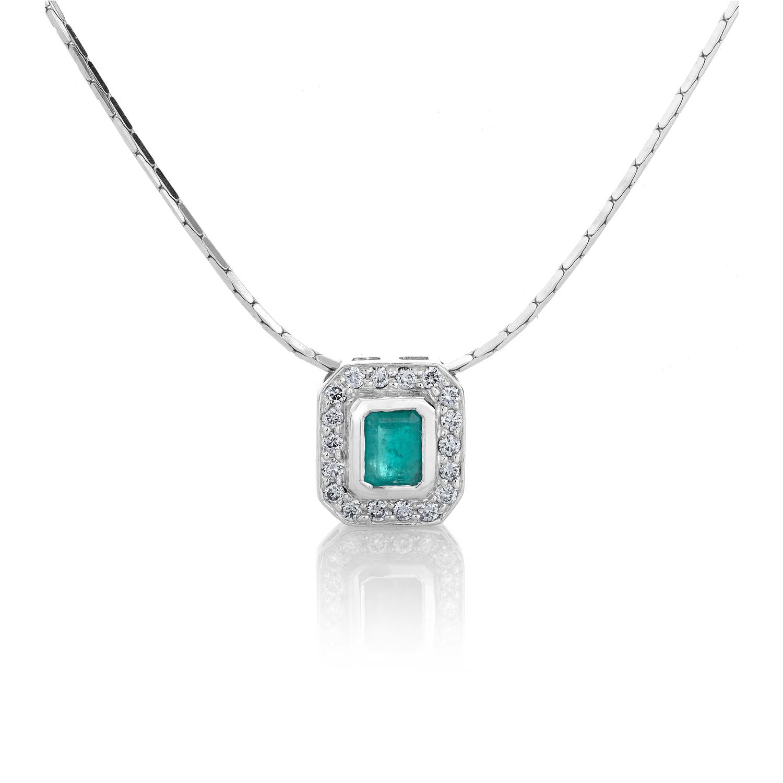 Sensi joyas alta joyería Granada plata compromiso COLLAR DE ORO BLANCO DE 18K ESMERALDA  0,25CT  Y  0,13CT TALLA BRILLANTE.
