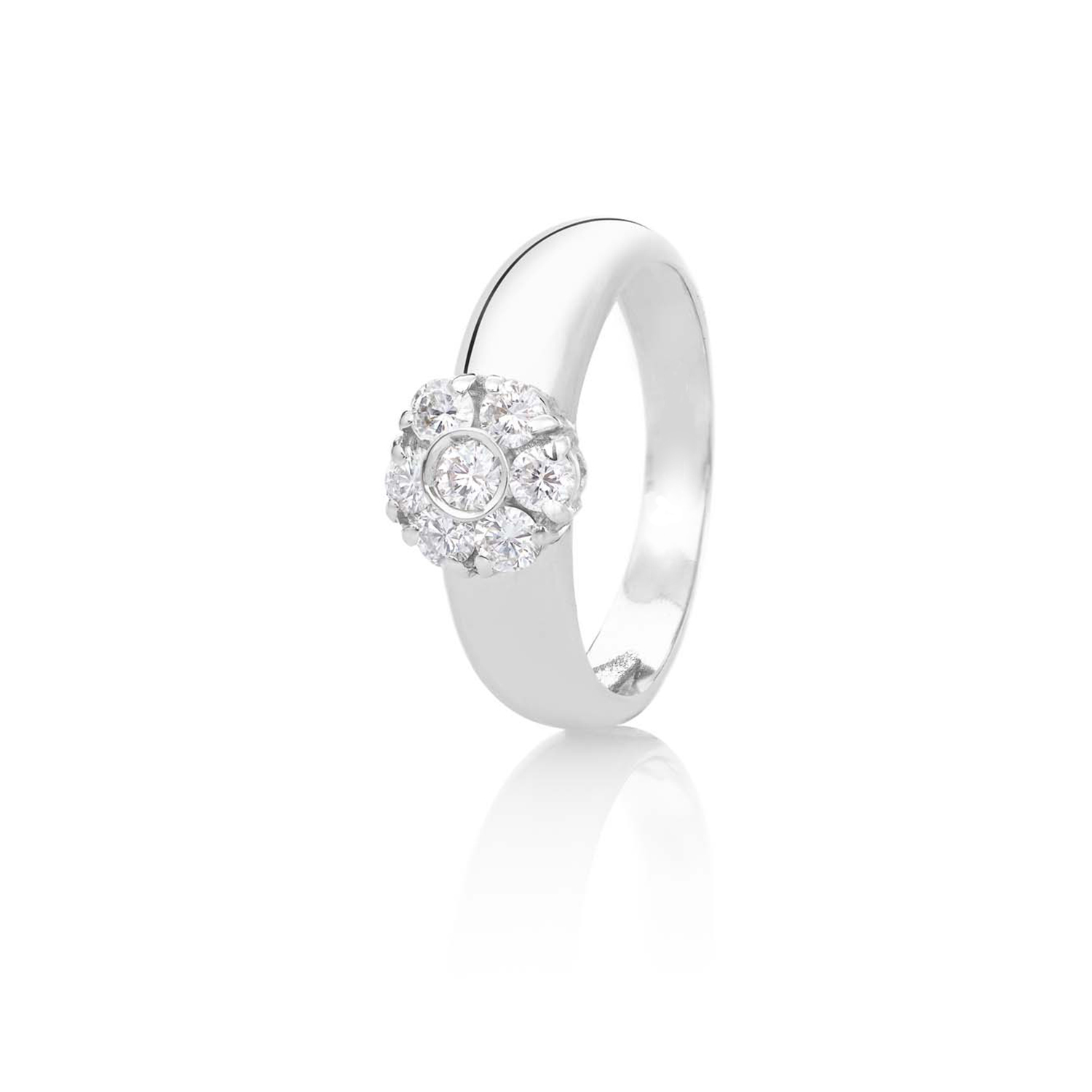 Sensi joyas jewellery Granada silver engagement18K WHITE GOLD RING DECORATED WITH A 0,53CT OF BRILLIANT CUT DIAMOND.
