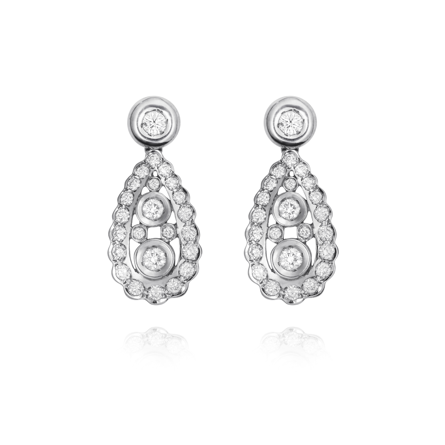 Sensi joyas jewellery Granada silver engagement18K GOLD EARRINGS DIAMONDS 1.70 CTS