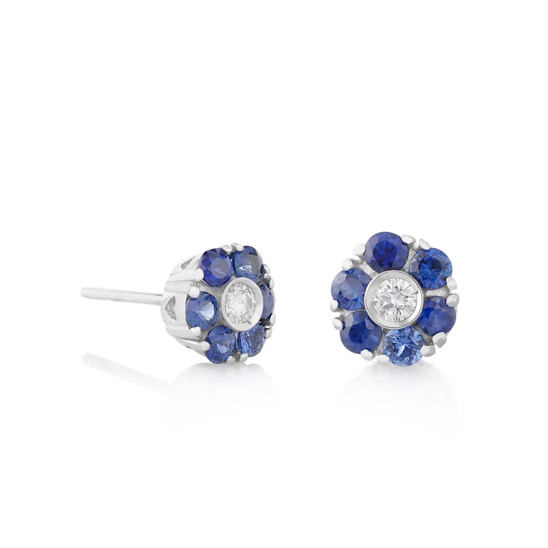 Sensi joyas jewellery Granada silver engagement18K GOLD EARRINGS DIAMONDS 0.14 CTS SAPPHIRES 1.10 CTS