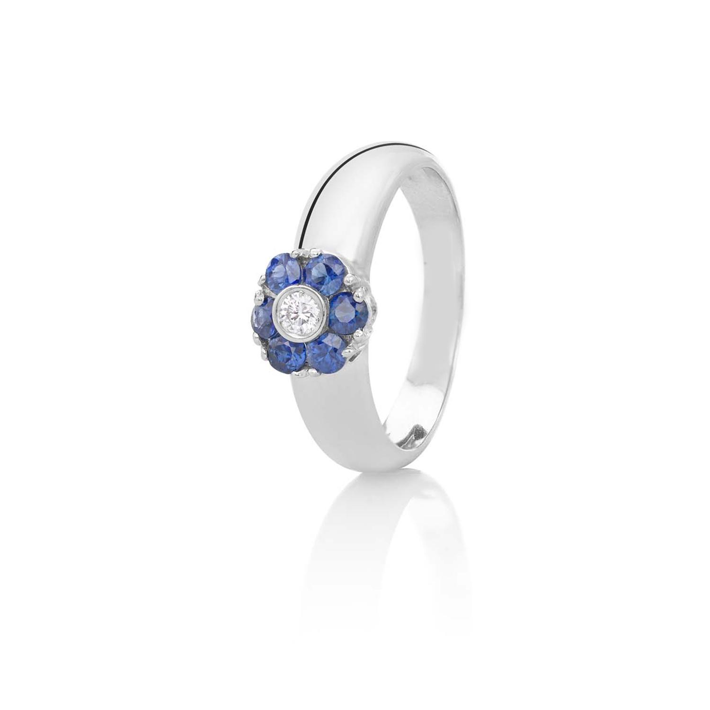 Sensi joyas alta joyería Granada plata compromiso ANILLO ORO 18K BRILLANTE  0,07CTS  ZAFIROS 0,55 CTS