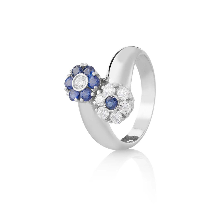 Sensi joyas alta joyería Granada plata compromiso ANILLO ORO 18K BRILLANTES  0,66 CTS   ZAFIROS 0,48 CTS