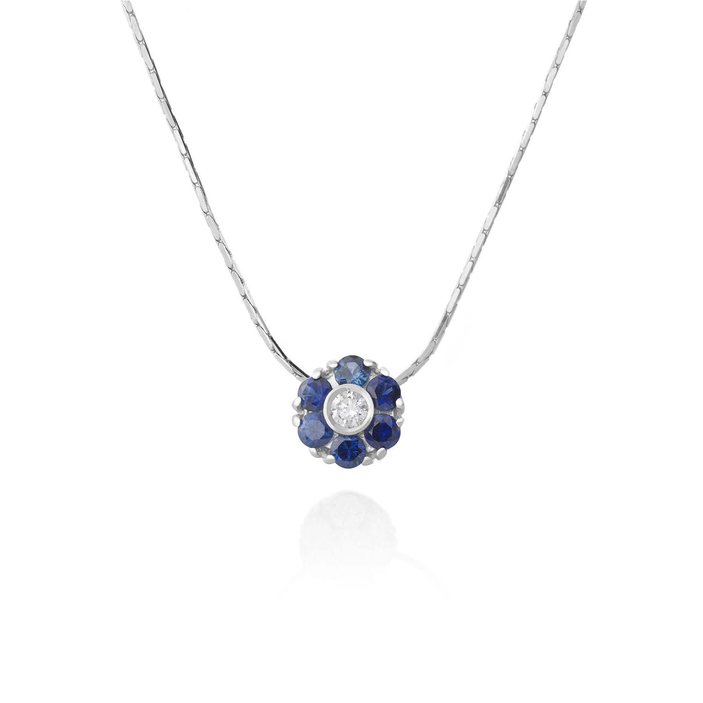 Sensi joyas alta joyería Granada plata compromiso COLLLAR ORO 18K  BRILLANTE 0,07 CTS  ZAFIROS 0,55 CTS
