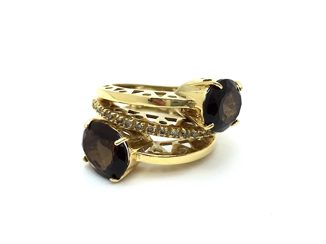 Sensi joyas alta joyería Granada plata compromiso ANILLO  ORO 18K BRILLANTES  0,20 CTS CUARZO FUME