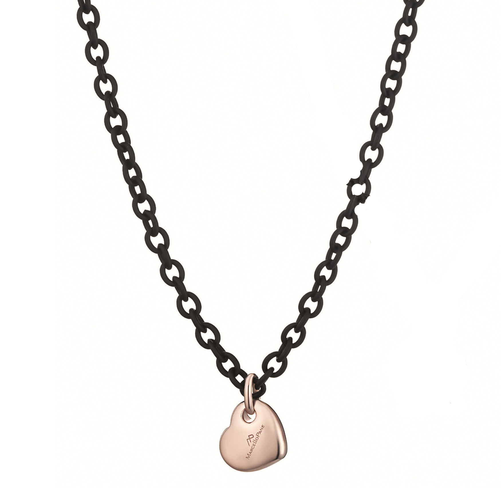 Sensi joyas jewellery Granada silver engagementSILVER NECKLACE WITH ROSE GOLD COATING AND RUBBER ( 48+3,5 cm )