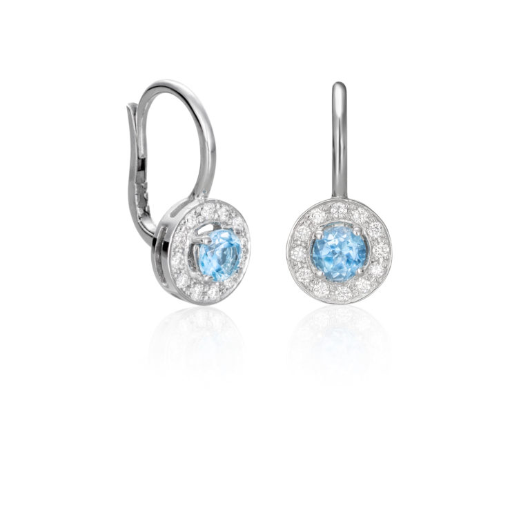 Sensi joyas jewellery Granada silver engagement18K GOLD EARRINGS WITH 0.20 CTS OF DIAMONDS AND BLUE TOPAZ