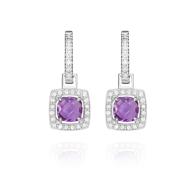 Sensi joyas jewellery Granada silver engagementEARRINGS GOLD 18K DIAMONDS 0.12 CTS , AMATISTS 1.72 CTS