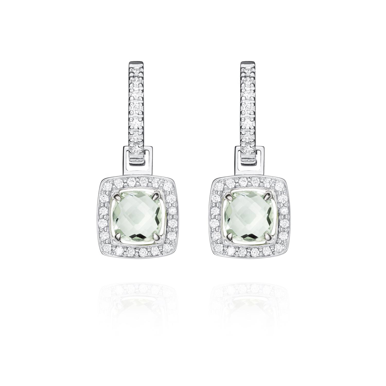 Sensi joyas jewellery Granada silver engagementEARRINGS GOLD 18K DIAMONDS 0.12 CTS, AMATISTS 2.00 CTS