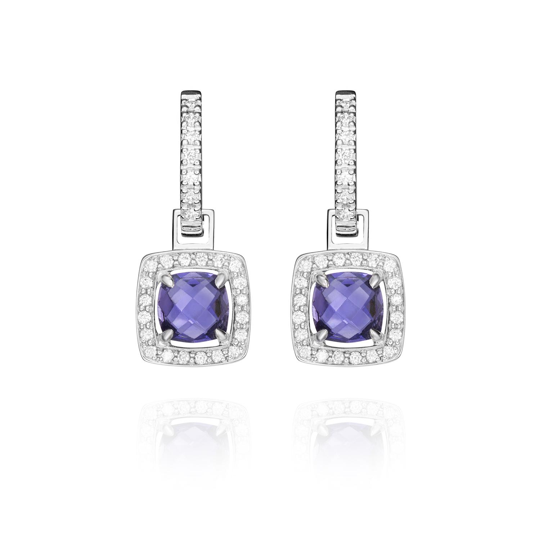 Sensi joyas jewellery Granada silver engagementEARRINGS GOLD 18K, DIAMONDS 0.12 CTS, IOLITAS 1.59 CTS