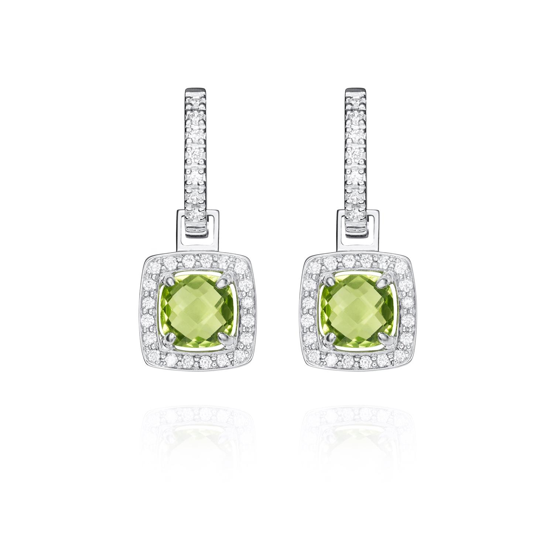 Sensi joyas alta joyería Granada plata compromiso PENDIENTES ORO 18K  BRILLANTES  0,12 CTS ,  PERIDOTOS 2,48 CTS