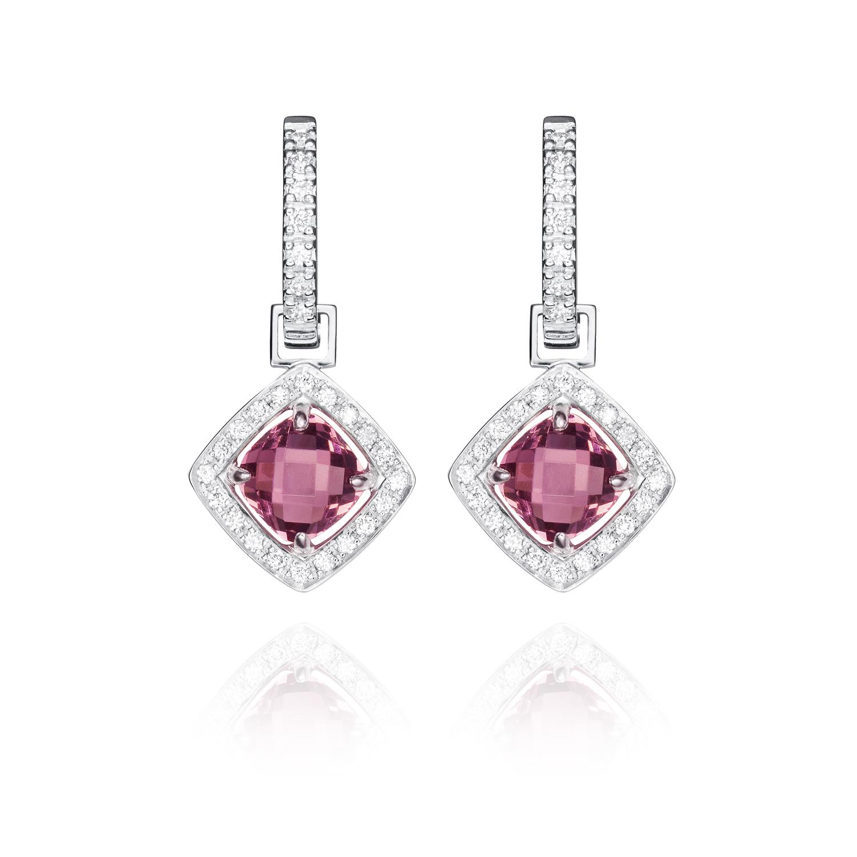 Sensi joyas alta joyería Granada plata compromiso PENDIENTES ORO 18K  BRILLANTES  0,12 CTS ,  RODOLITAS 2,52 CTS