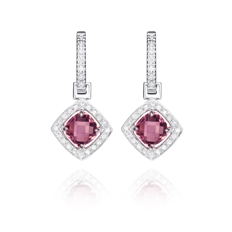 Sensi joyas jewellery Granada silver engagementEARRINGS GOLD 18K DIAMONDS 0.12 CTS , RODOLITAS 2.52 CTS