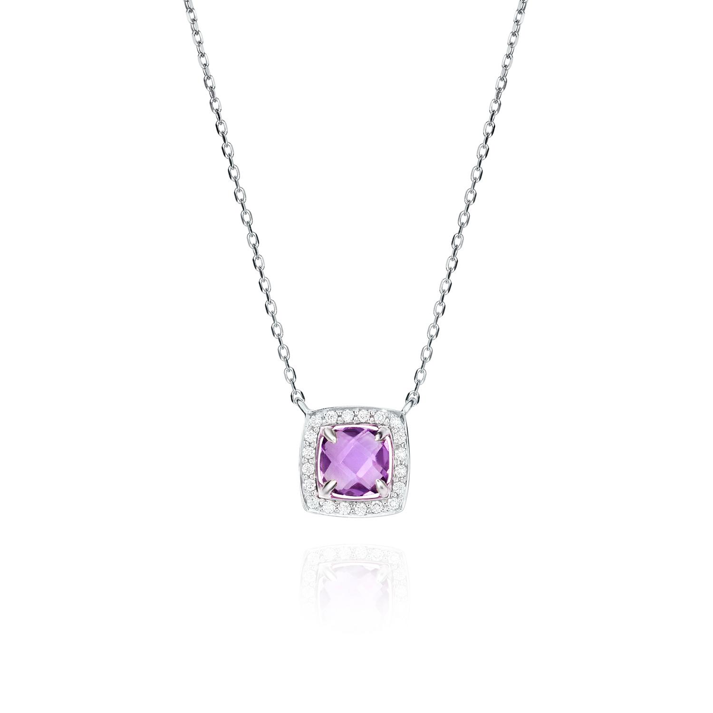 Sensi joyas alta joyería Granada plata compromiso COLGANTE ORO 18K, BRILLANTES  0,12 CTS,  AMATISTA 0,86 CTS