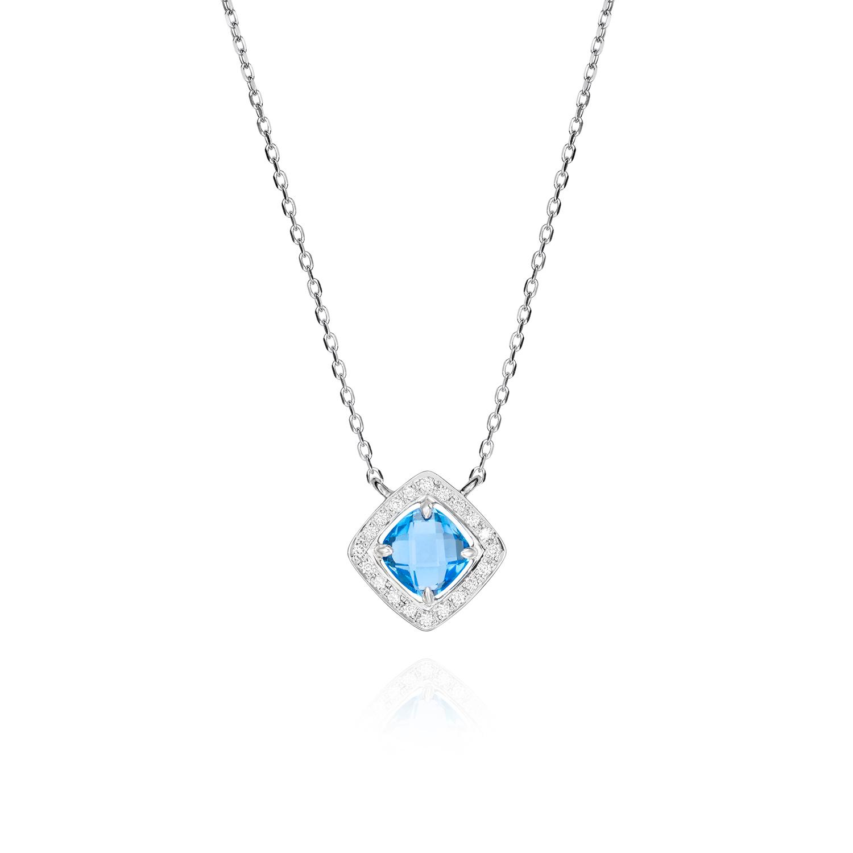 Sensi joyas alta joyería Granada plata compromiso COLGANTE ORO 18K, BRILLANTES 0,12 CTS, TOPACIO AZUL 1,22 CTS