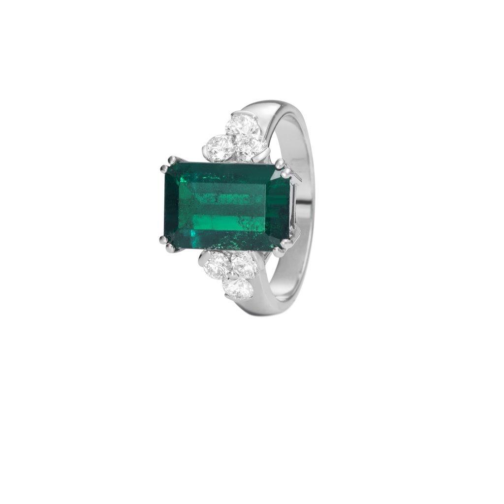 Sensi joyas alta joyería Granada plata compromiso ANILLO ORO 18K BRILLANTES 0,55 CTS  Y  ESMERALDA  3,16 CTS